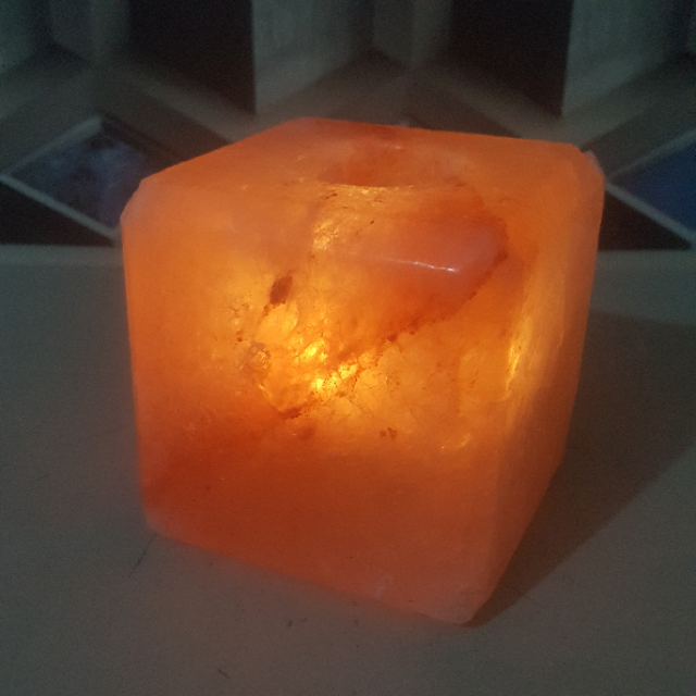himalayan cube candle holder