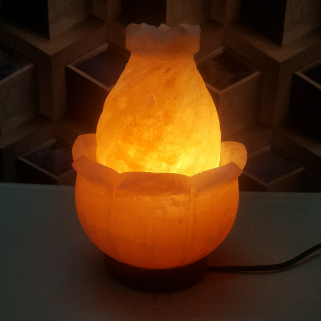 himalayan lotus  bowl lamp with light