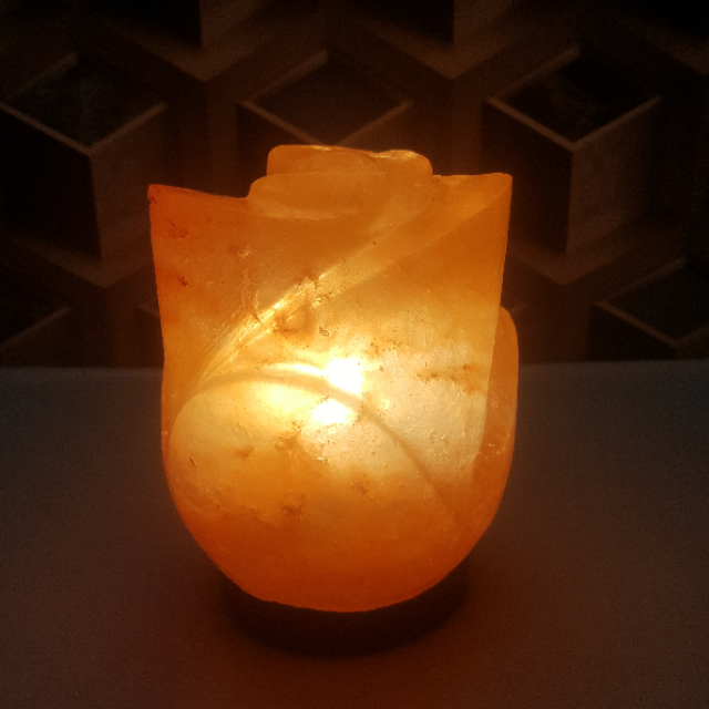 himalayan lotus lamp with light