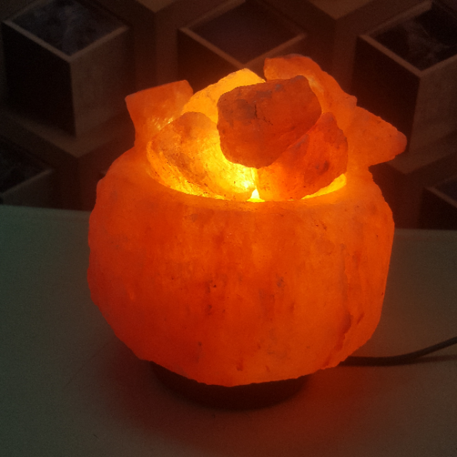 himalayan natural bowl salt lamp with light