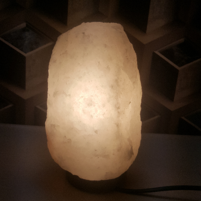 himalayan white salt crystal natural lamp
