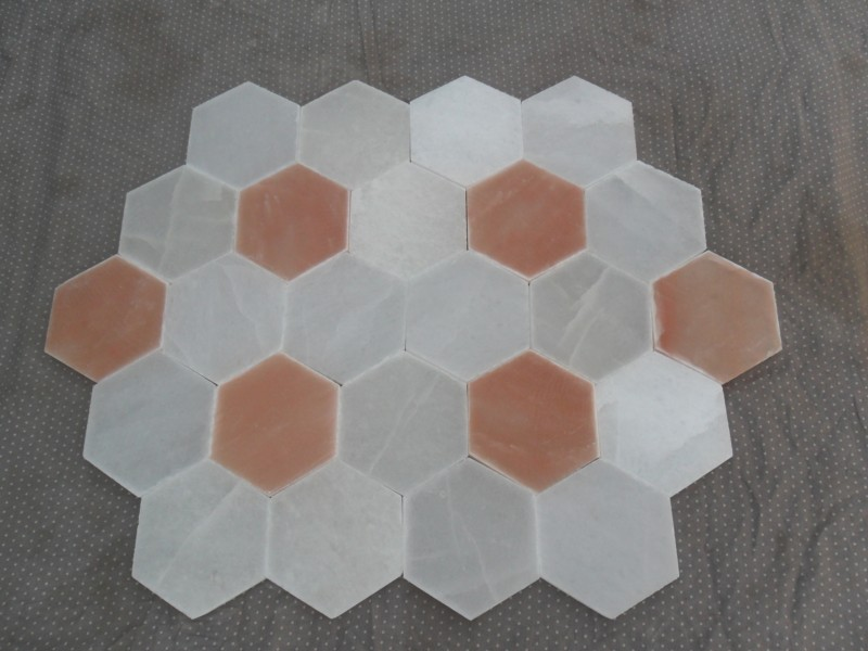 himalayan hexagon tile one side beveled (white)