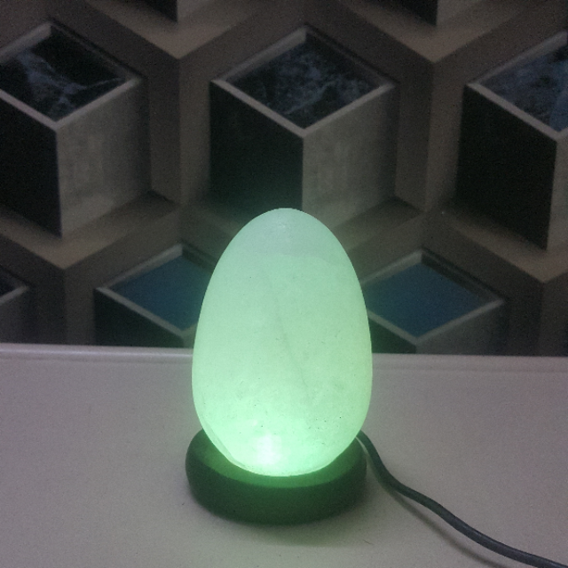 himalayan usb egg lamp (white) large double led with light