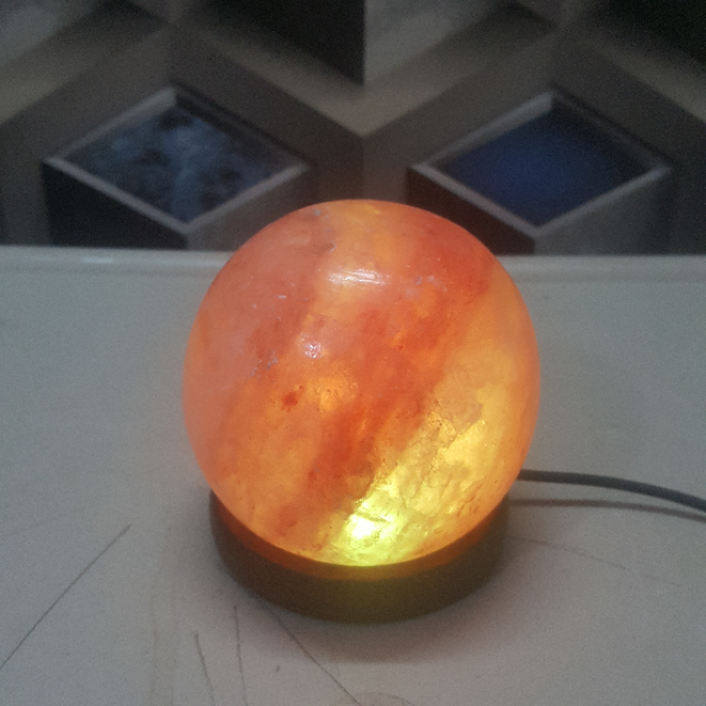 himalayan usb sphere lamp large double led (pink)