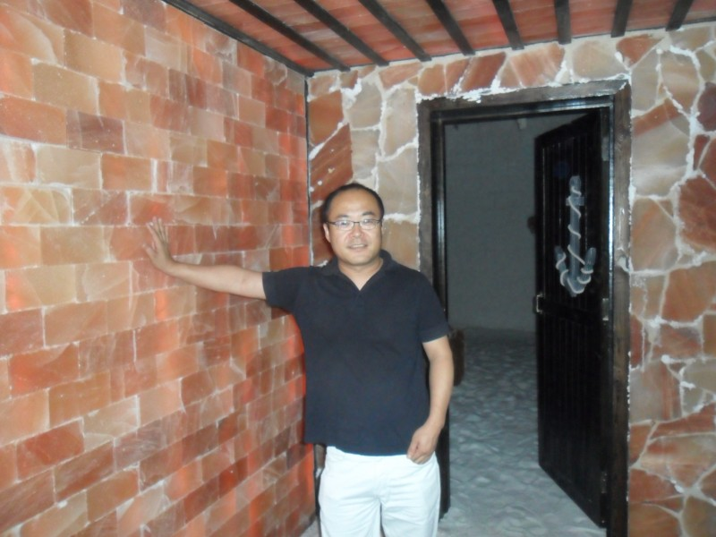 customer vist himalayan salt tiles room