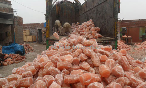 factory view himalayan salt natural lamps