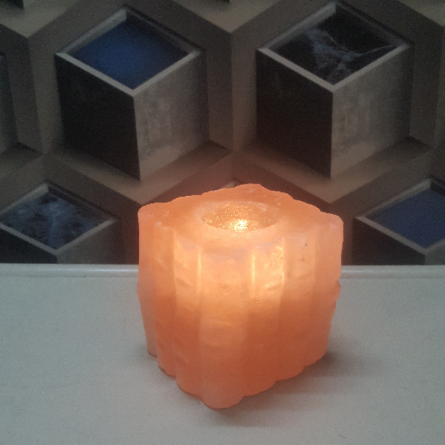 himalayan bamboo candle holder with light