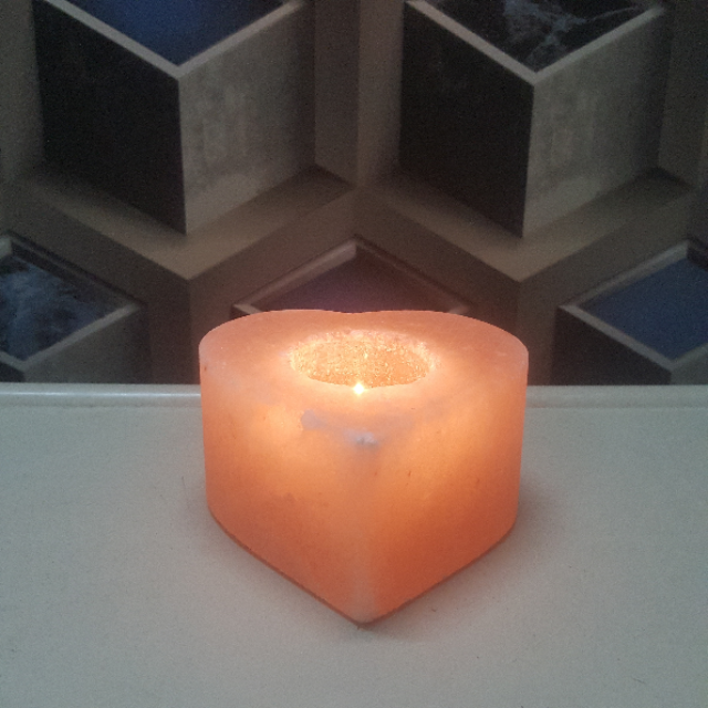 himalayan heart candle holder with light