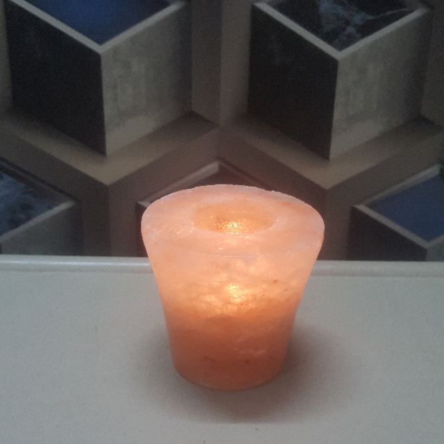 himalayan taper glass candle holder with light