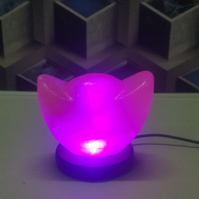 himalayan usb boat lamp (pink) with light